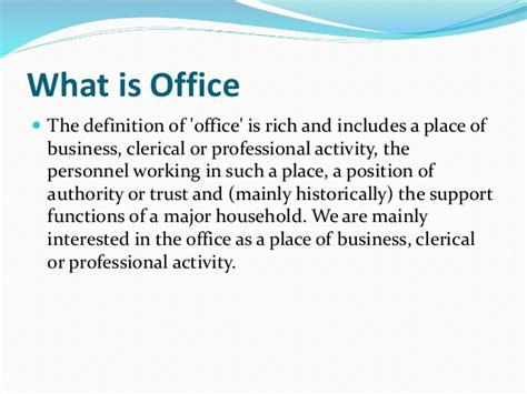 office definition office management