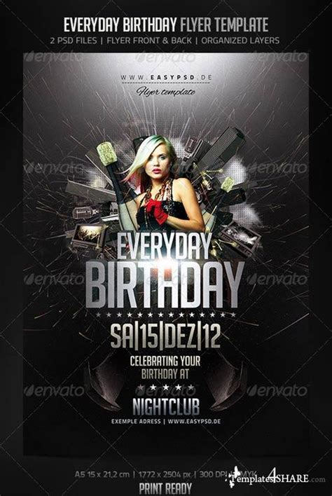 Graphicriver Everyday Birthday Flyer 187 Templates4share Com Free Web Templates Themes And Flyer Template Psd 2