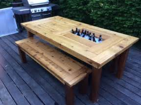 white cedar patio table w coolers diy projects
