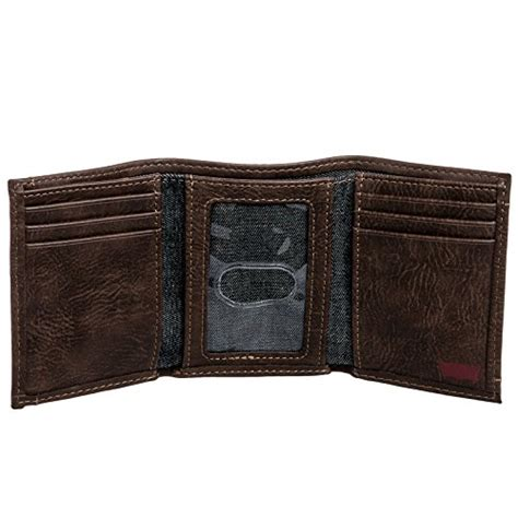 levi s mens leather trifold wallet w embossed logo brown