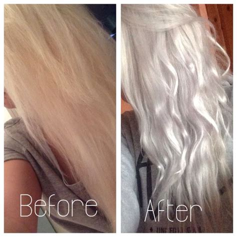 Silver Blonde Color Hair Toner | silver grey hair using wella t18 toner on box dyed blonde