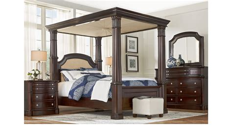 dumont bedroom set dumont cherry 7 pc queen canopy bedroom traditional