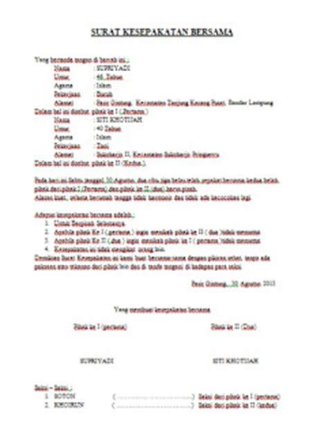 contoh surat kesepakatan cerai surat cerai puci a
