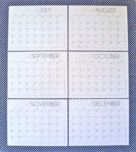 Printable Calendar August Through December 2015 | hey it s sj 2015 monthly calendar free printable