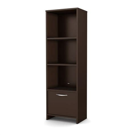 south shore step one shelf bookcase in chocolate 3159652