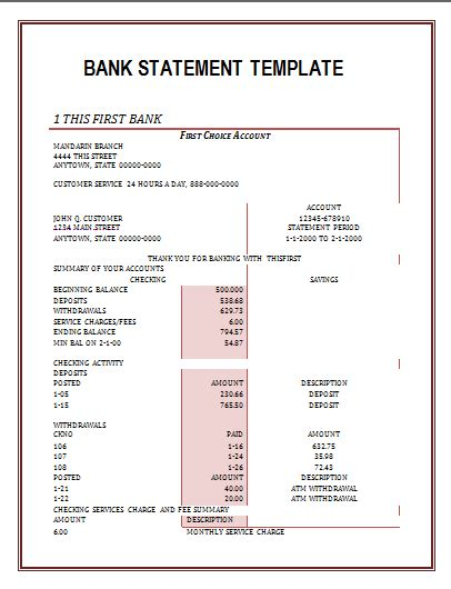 Bank Statements Free Word S Templates Checking Account Statement Template
