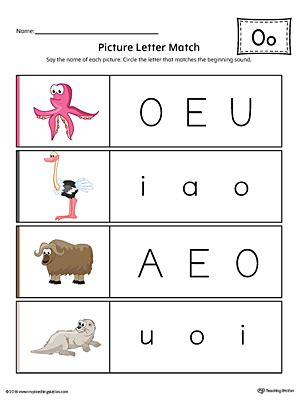 color o picture letter match letter o worksheet color