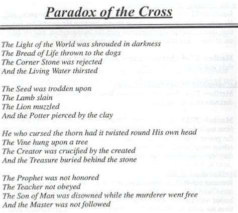 the paradoxes of jesus his the pretty bitty paradox of the cross a poem by