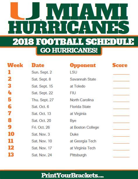 printable hurricanes schedule miami hurricanes 2018 football schedule printable