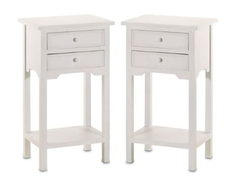 White End Tables With Drawers by Set Of 2 Wood White End Tables Nightstands With Two Drawers Home