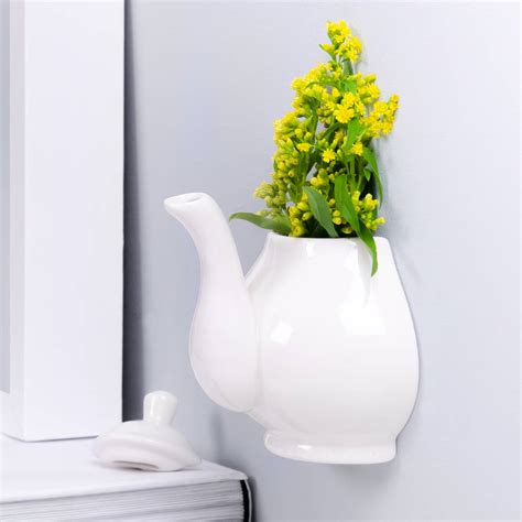 ceramic wall planter ceramic wall mounted tea pot planter by thelittleboysroom