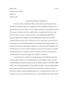 Narrative Essay Draft Exle by M Clark College Writing Seminar Paper 1 Draft