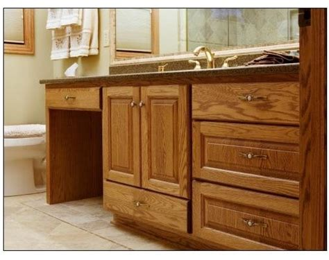 oak vanity w dressing table traditional bathroom