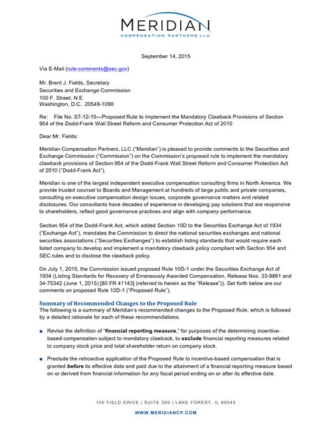 Offer Letter With Commission Sec Comment Letter On Proposed Rule On Mandatory Clawback Meridian Compensation Partners Llc