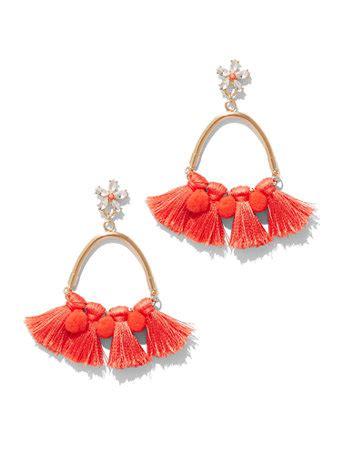 Pompom Accent Drop Earrings ny c pom pom tassel drop earring