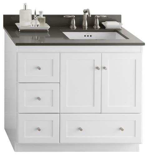 ronbow shaker bathroom vanity cabinet base white wood