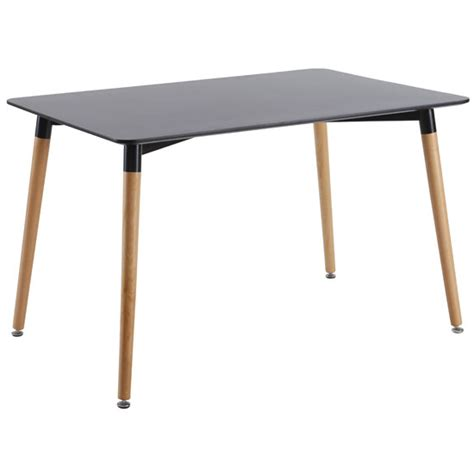 julian dining table rectangular in black top with beech