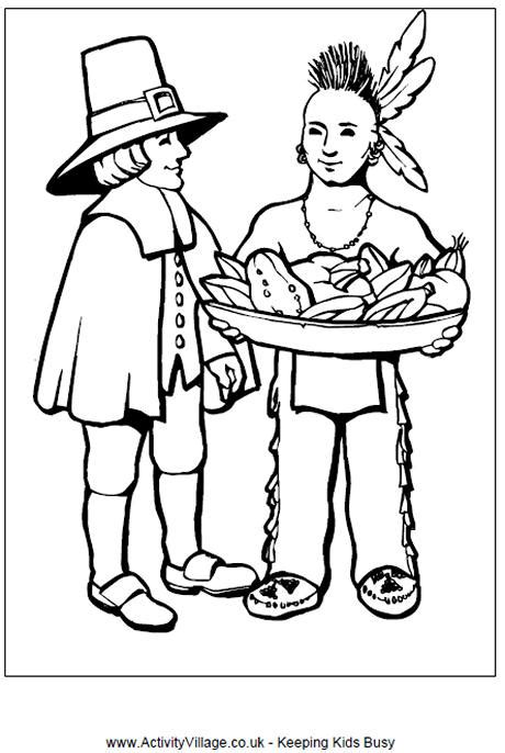 pilgrim village coloring page pilgrim and indian colouring page thanksgiving