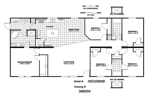 5 bedroom home floor plans manufactured home floor plan 2010 clayton independence 5 bedroom 38ind32685bh10