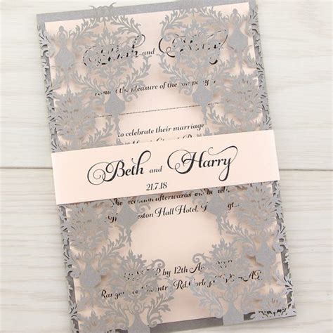 Wedding Card Invitation Uk by Rosa With Belly Band Invitation Wedding Invites