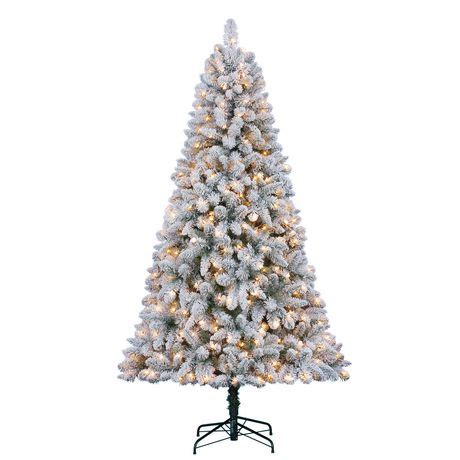 walmart flockedchristmastrees time 7 swiss flocked pine with clear lights tree walmart canada