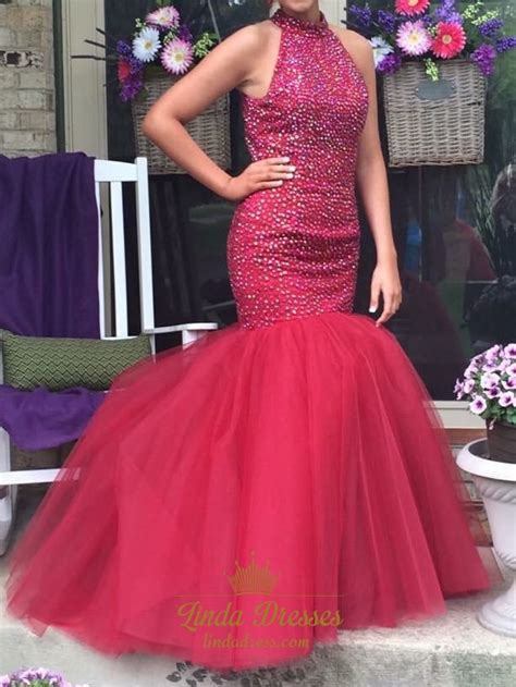 tulle dropped waist prom dress with beaded bodice style keyhole back drop waist tulle mermaid prom dress with