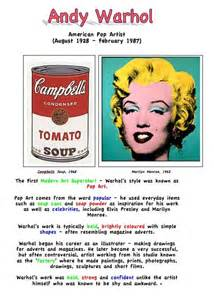 Artists Cool Kid Facts Andy Warhol Artist Fact Sheet For Education