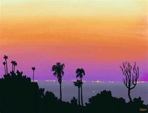 los angeles palm trees city lights gif find  gifer