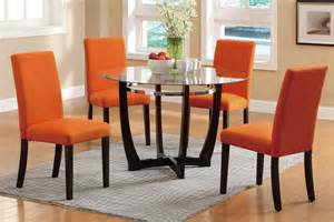 Orange Dining Room Sets 5pc glass top casual madison dining table orange parson