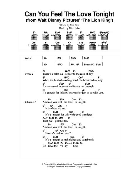 best Lion King Can You Feel The Love Tonight Guitar Chords image ...