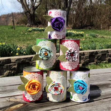tin can crafts for scrappy dressed up tin can craft 30 minute crafts