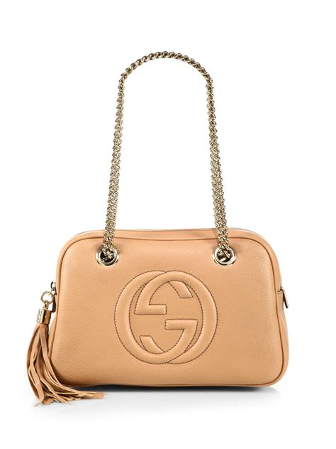 Guc Ci Leather lyst gucci soho leather chain shoulder bag in pink