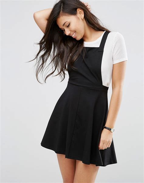 dresses by pinafore dress by asos black