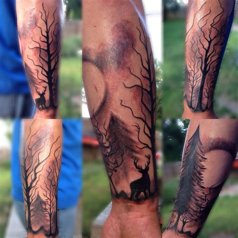 half sleeve tree tattoos forest trees deer arm half sleeve scenery