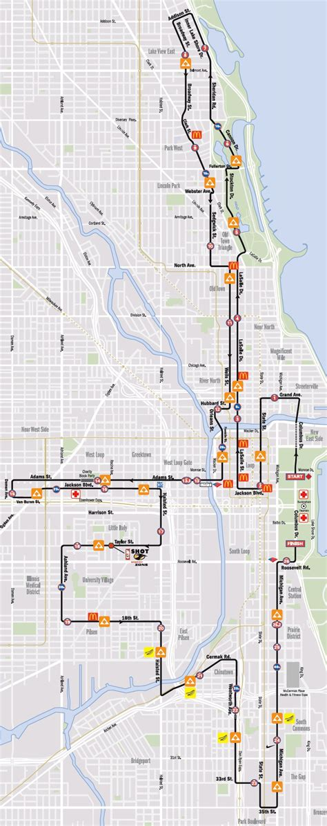 chicago marathon map chicago marathon 2012 route map traffic restrictions