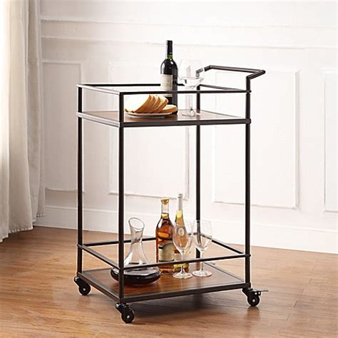 bed bath and beyond bar richland metal and wooden bar cart in black bed bath