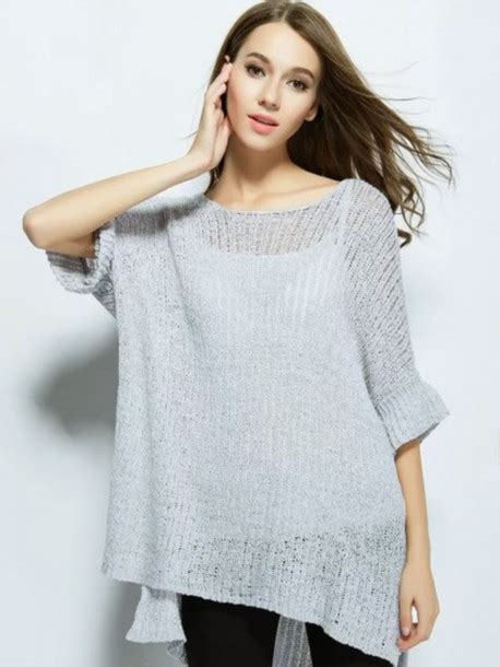 Sweater Trumpet Grey Sm sweater choies gray knit sweater trumpet sleeve side slit dipped hem wheretoget