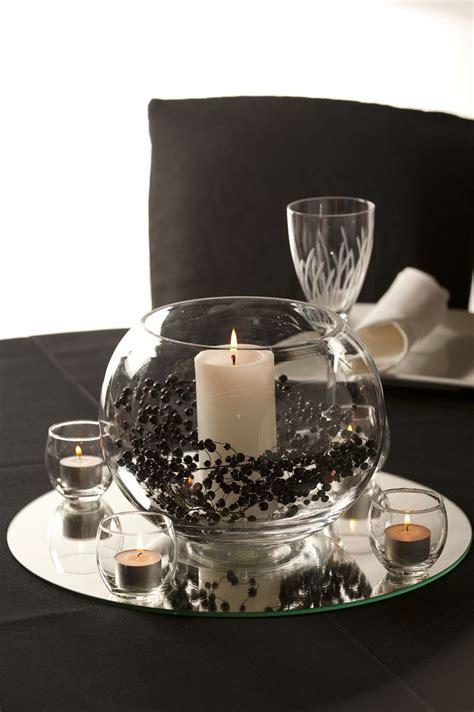 glass rose bowl  candle  garland centerpiece rose