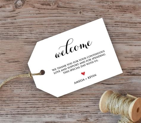wedding welcome tag welcome bag tag favor tag diy kraft