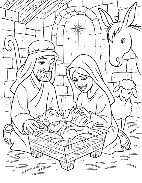 lds nativity coloring pages printable the birth of christ