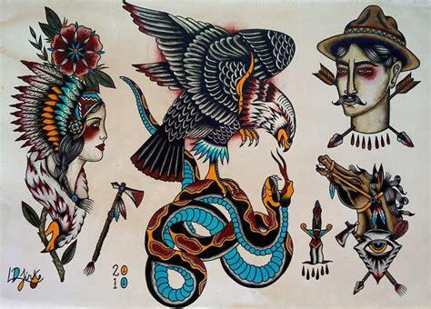 tattoo flash traditional american luke jinks illustration tattoo flash