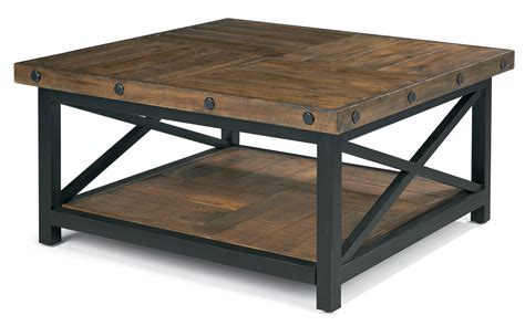 Square Wood And Metal Coffee Table Square Cocktail Table With Metal Base And Wood Plank Top By Flexsteel Wolf And Gardiner Wolf
