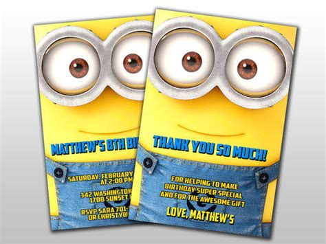 minion thank you cards template minions birthday invitation and thank you from lollipopcard on