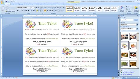 how to layout microsoft word how to make four postcards on the same sheet in word