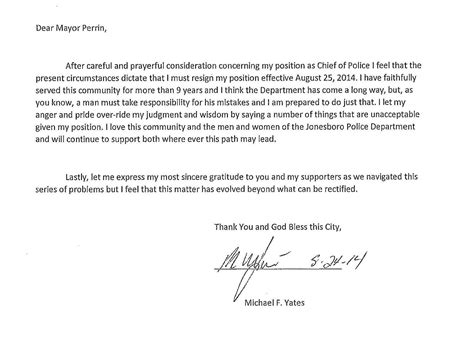 Resignation Letter Without 30 Days Notice Chief Mike Yates Resigns 100 5 The Eagle Jonesboro Ar