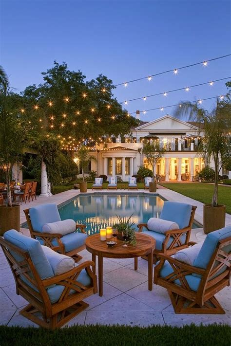 String Lights Over The Pool A House Is A Home When It String Lights Pool