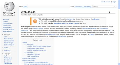 wiki page template 187 navigation and layout web design