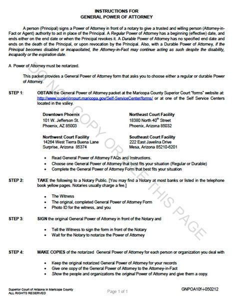 durable power of attorney template free free arizona durable general power of attorney form template