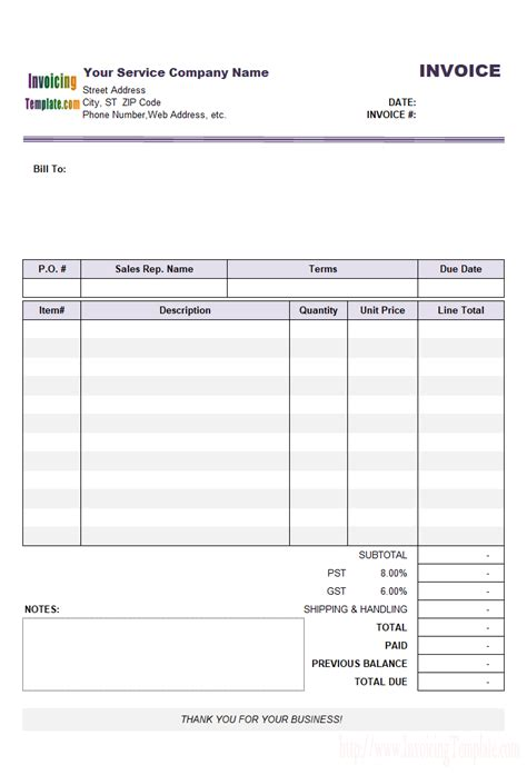 General Service Invoice Outstanding Balance Email Template