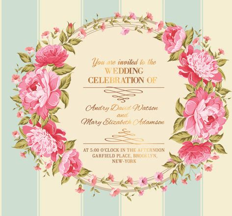 flower design wedding invitation pink flower frame wedding invitation cards free vector in